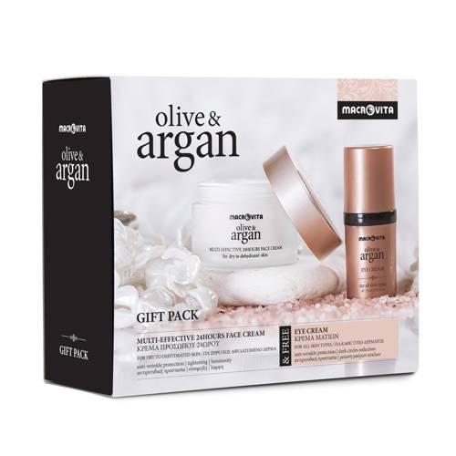 MACROVITA OLIVE & ARGAN GIFT SET: 24hours face cream dry to dehydrated skin 50ml + FREE eye cream 15ml