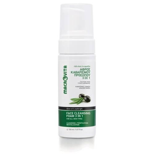 MACROVITA PIANKA DO MYCIA TWARZY 3w1 z bio-oliwą z oliwek i świetlikiem 150ml