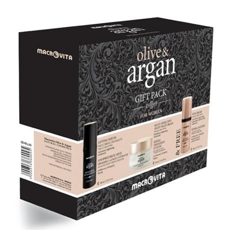 ZESTAW MACROVITA OLIVE & ARGAN: krem na noc do każdego rodzaju cery 50ml + liftingujące serum na twarz, szyję i dekolt 30ml + GRATIS krem pod oczy 30ml